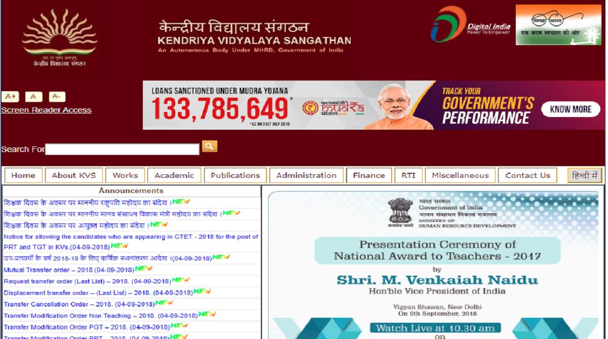 Ministry of Human Resource Development,Kendriya Vidyalaya Sangathan