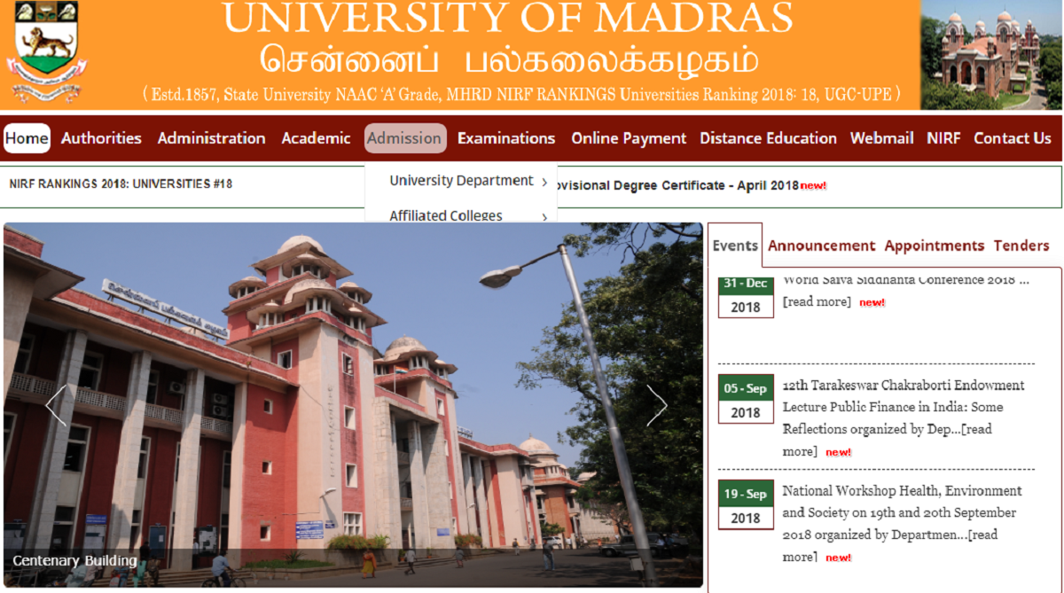 Madras University, UG Re-totallingResults 2018