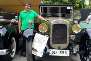 At Vintage & Classic Car Show, an Austin from 1926 and a Studebaker with Mahatma Gandhi link