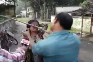 On camera: Woman BJP supporter kicked, beaten with sticks by 'TMC leaders' twice