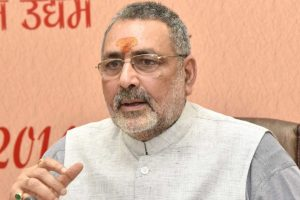 Upper caste activists protest against Union Minister Giriraj Singh