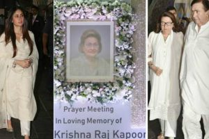 Bollywood stars, others attend Krishna Raj Kapoor's prayer meet