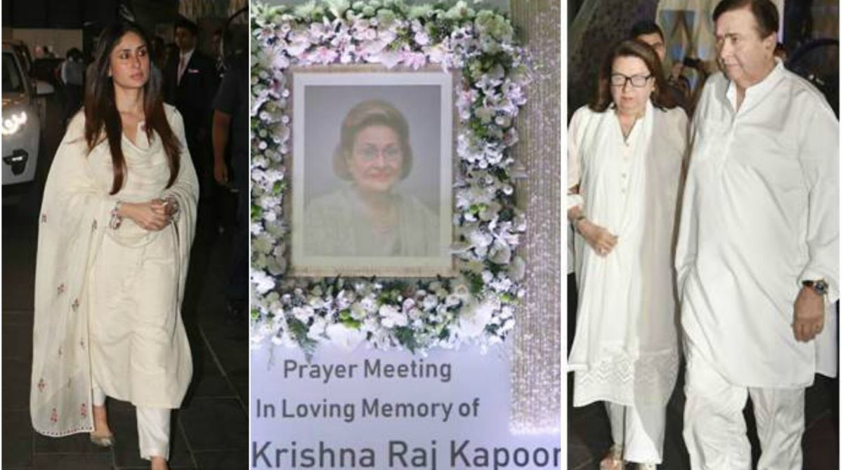 Kareena Kapoor Khan, Randhir Kapoor at Krishna Raj Kapoor's prayer meet