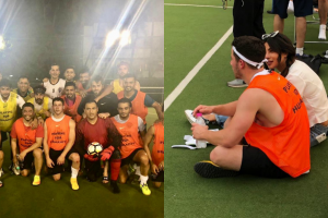 MS Dhoni plays football with Nick Jonas, as Priyanka Chopra watches from the stands, see photos