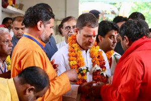 Rahul Gandhi begins Chambal tour with prayers at temple