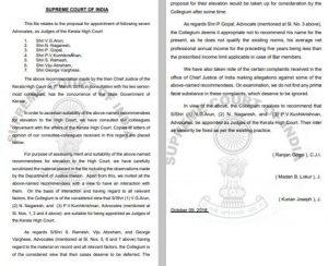 Supreme Court collegium, Kerala HC judges, kith and kin of judges, Kerala HC Collegium, SC Collegium