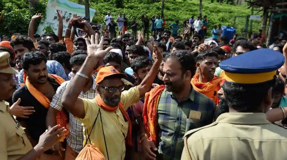 Sabarimala violence, Sabarimala temple case, Sabarimala protests, protesters photos, Kerala Police, Supreme Court
