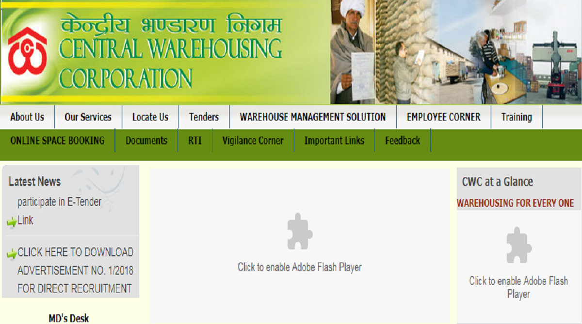 CWC recruitment 2018, Central Warehousing Corporation
