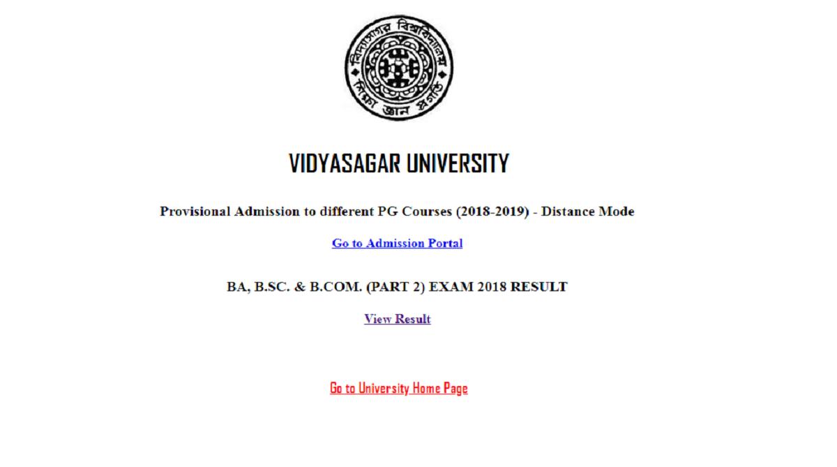 Vidyasagar University, Vidyasagar University results 2018