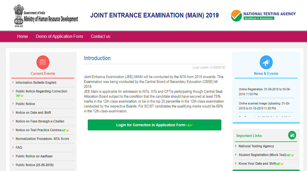National Testing Agency, JEE Main 2019