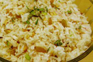 Navratri prasad – sweet saffron rice
