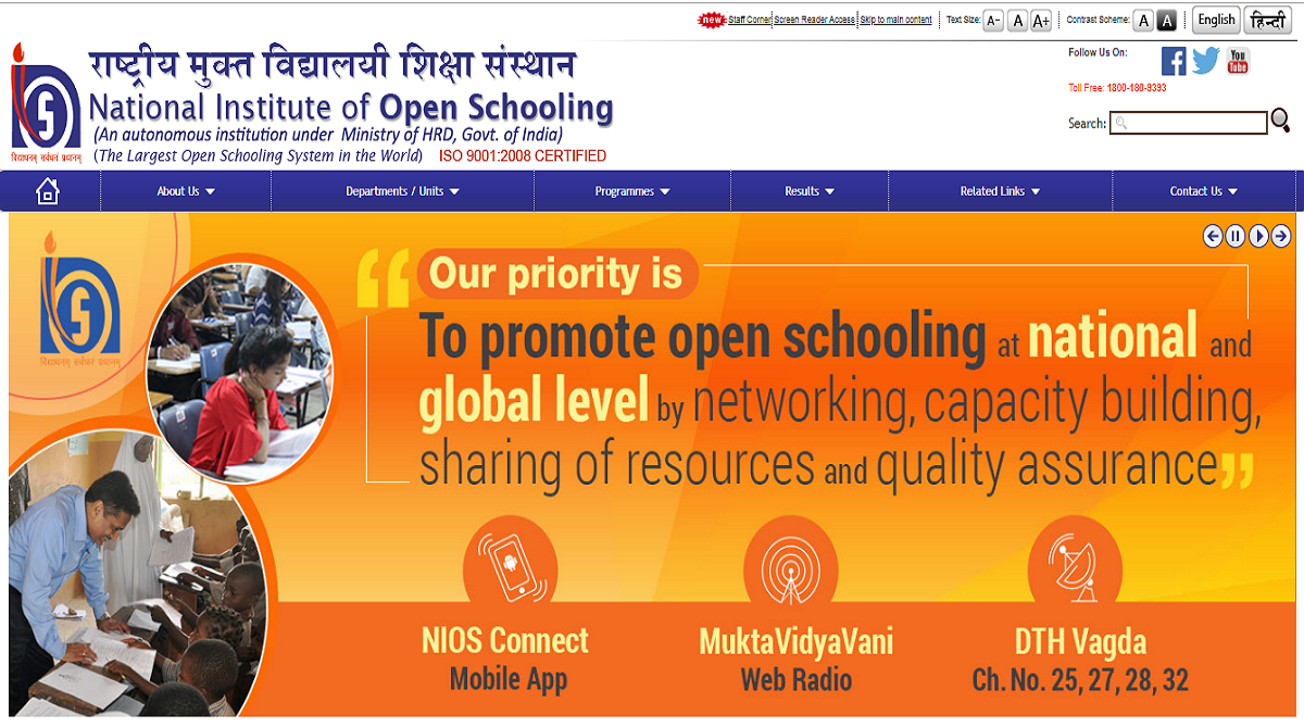 NIOS examinations 2018, National Institute of Open Schooling