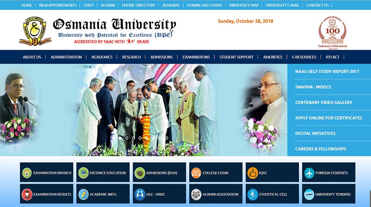 Osmania University, Osmania University results 2018