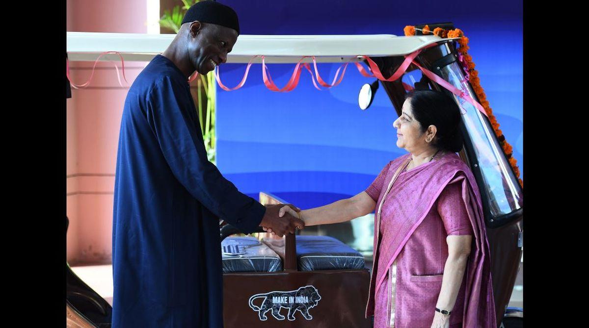 e-rickshaws, Senegal, Narendra Modi, Macky Sall, Jawaharlal Nehru Bhavan,Sushma Swaraj,Senegal El Hadji Ibou Boye,Goenka Electric Motors Vehicles Ltd, India-Africa Forum Summit