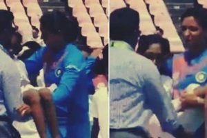 Watch: Harmanpreet Kaur carries ill mascot off the field, wins hearts