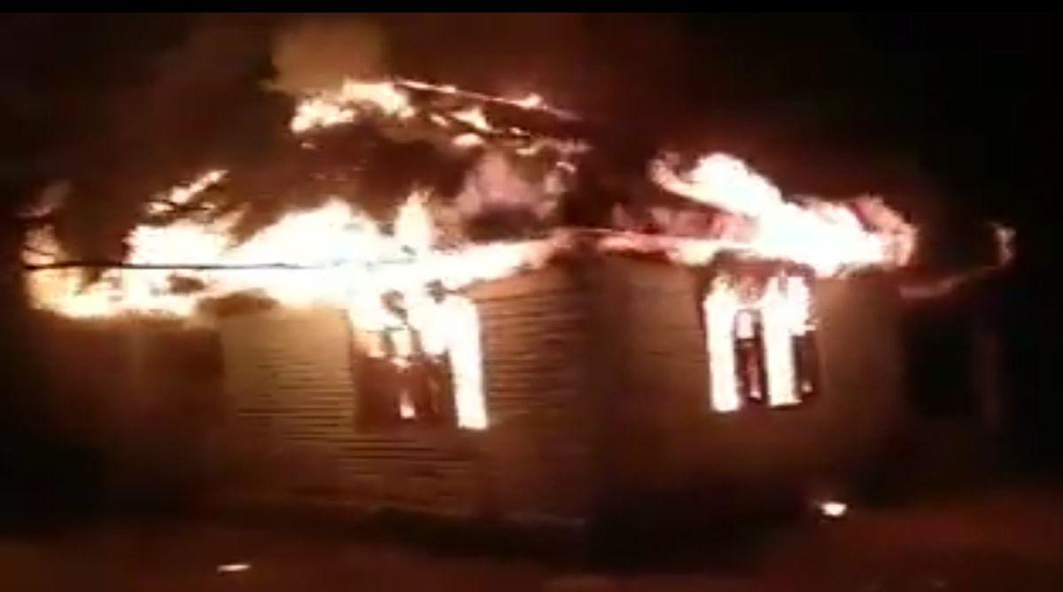errorists burn down a panchayat office in Nutnussa village of Kupwara district