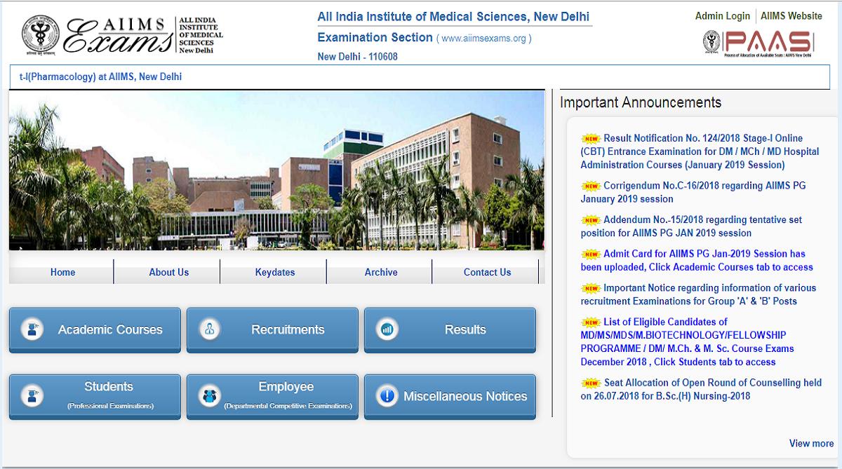 AIIMS PG exam 2019, All India Institute of Medical Science
