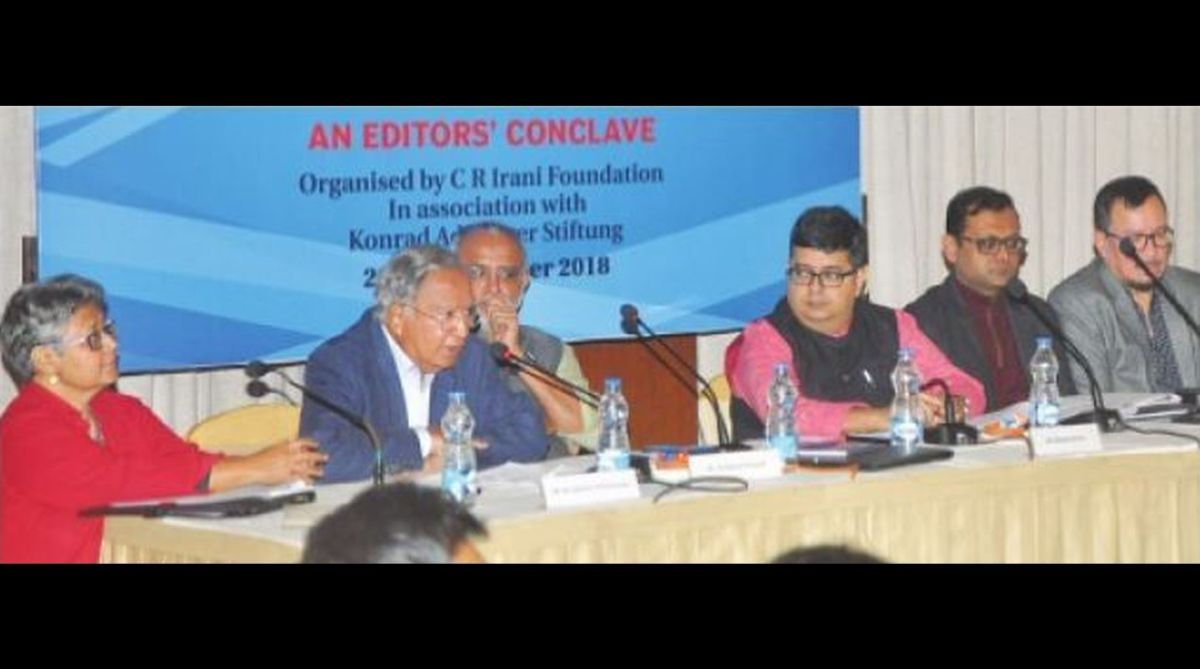 10th Editors' Conclave, CR Irani Foundation, Ravindra Kumar, The Statesman, Sidharth Bhatia, Mukund Padmanabhan, Raj Kamal Jha, Sidharth Bhatia, Anant Nath, Krishna Prasad