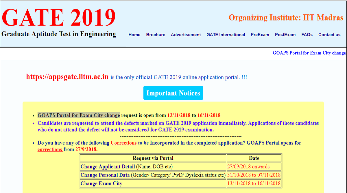 GATE 2019, Indian Institute of Technology Madras