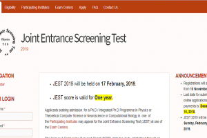 JEST 2019 registration begins from November 10 | Check jest.org.in