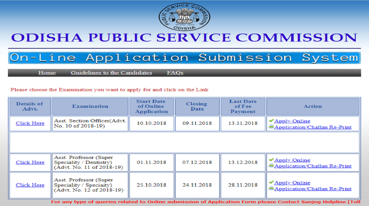OPSC recruitment 2018, Odisha Public Service Commission