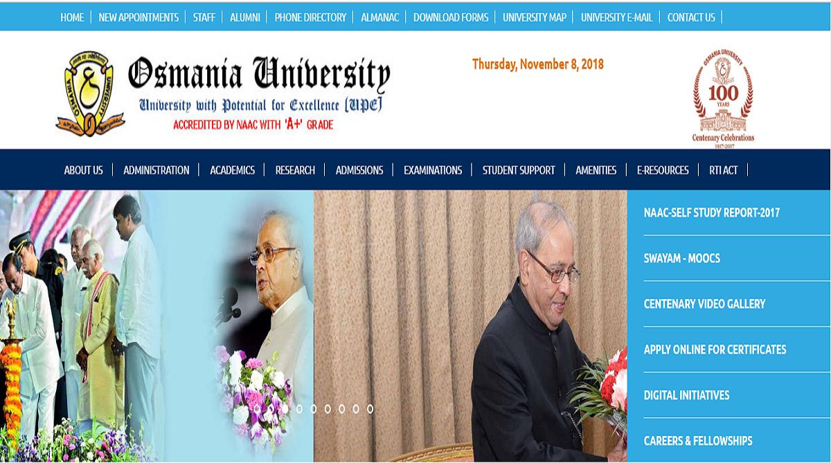 Osmania University results, Osmania University
