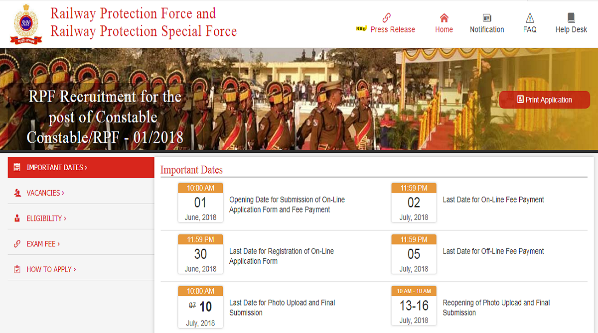 RPF recruitment 2018, Railway Protection Force