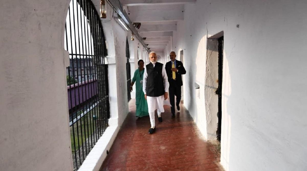 Modi visits Andaman and Nicobar; Prime Minister Narendra Modi, Cellular Jail, Netaji Subhas Chandra Bose Dweep, Shaheed Dweep, Swaraj Dweep, First Day Cover, Andaman and Nicobar Islands, Port Blair dockyard