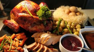 Classic roast turkey, Bread stuffing, Brussel sprouts, giblet gravy
