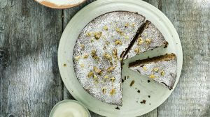 Flourless California Walnut Cake With Poached Pears