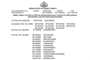 Kerala Nirmal Lottery NR 99 result declared on keralalotteries.com; check full winner list here