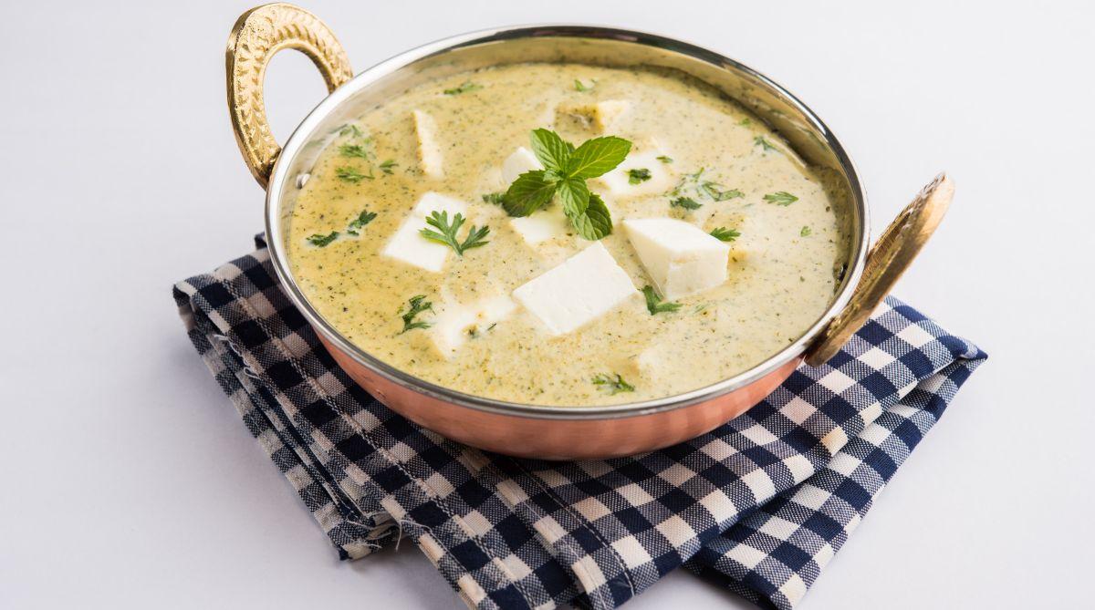 Creamy white gravy sweet and tangy paneer