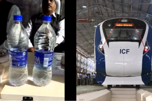 Watch: Train 18 moves at 180 kmph but water bottles remain stable