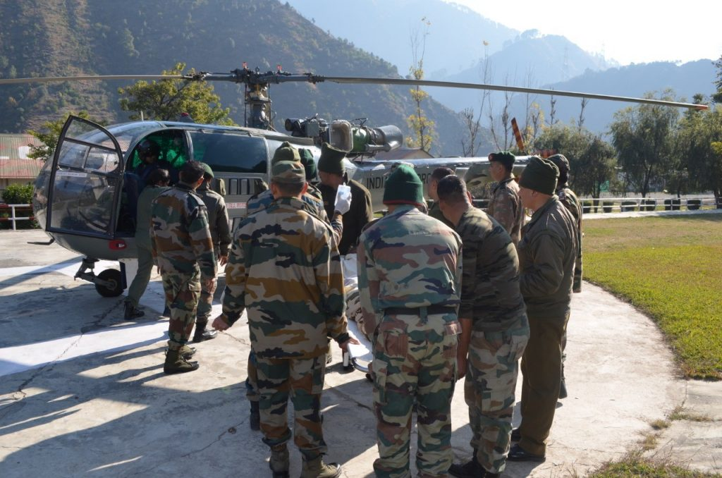 IAF Casevac at Chanderkot, ITBP soldiers, Indian Air Force, Indo-Tibetan Border Police, Jammu and Kashmir, Ramban district, Badgam, Western Air Command, Cheetah helicopters, Udhampur-based Hovering Hawks, Hovering Hawks