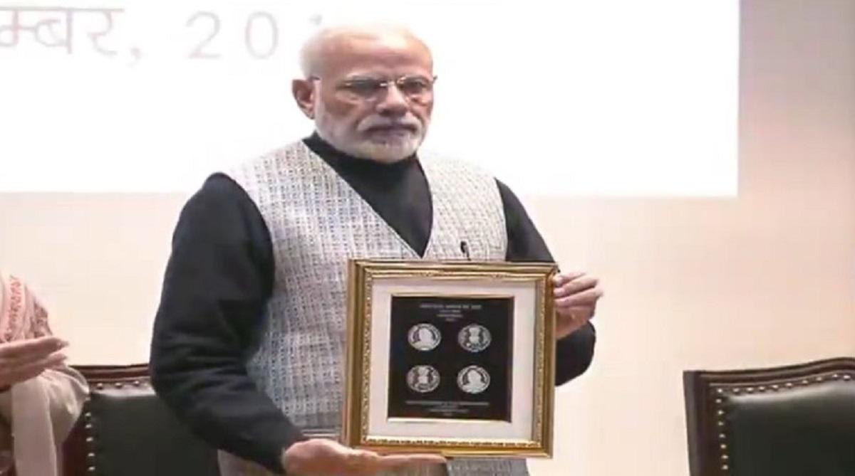 Rs 100 coin released, Atal Bihari Vajpayee, Narendra Modi, Parliament House Annexe, Jana Sangh, Janata Party, Bharatiya Janata Party, Arun Jaitley, Amit Shah, LK Advani