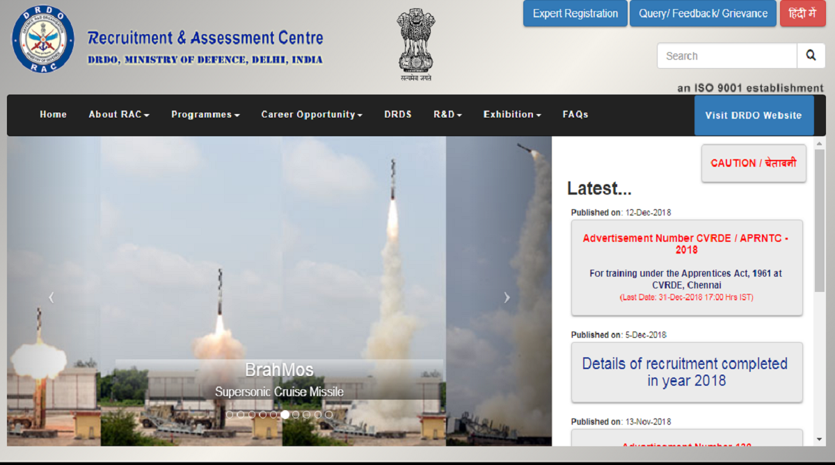 DRDO recruitment 2018, Defence Research and Development Organisation