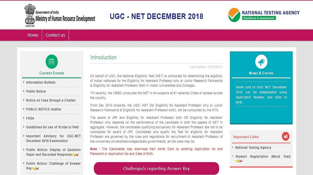 UGC NET answer key, National Eligibility Test exam 2018