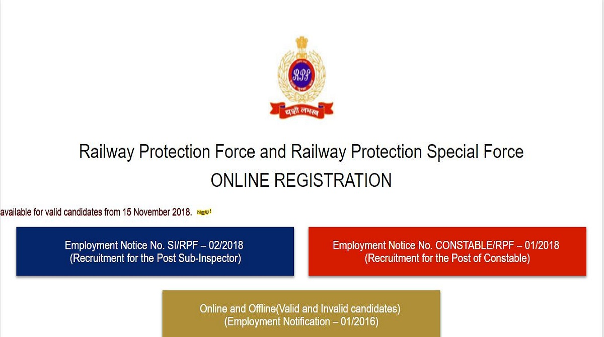 RPF recruitment 2018, Railway Protection Force