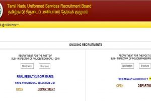 TNUSRB releases the preliminary answer keys for Sub-Inspector examination on tnusrbonline.org, check direct link here