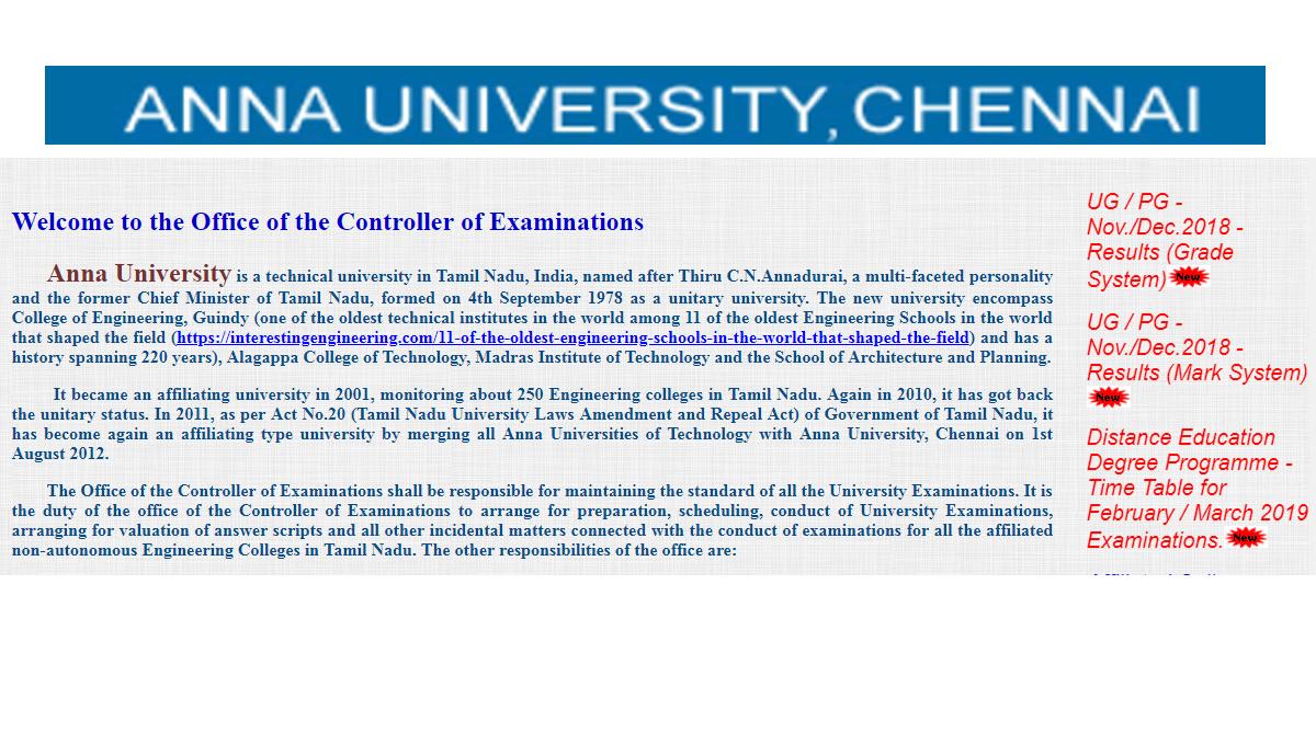Anna University UG/PG Result 2018 website not working