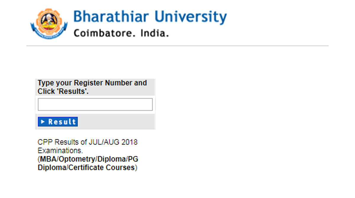 Bharathiar University CPP Results/Scorecard 2018 released at buc edu