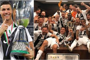 Cristiano Ronaldo reacts after lifting first trophy with Juventus