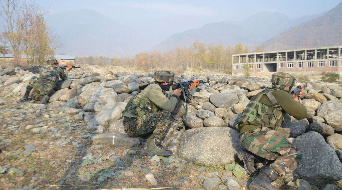 Two terrorists killed in Pulwama, Three soldiers injured in Pulwama, Hizbul Mujahideen, Gulshanpora Tral, South Kashmir, Pulwama district, Army's 42 RR, SOG, CRPF, Cordon-and-search operation, Army's 92 Base Hospital, Srinagar, Army's Command Hospital at Udhampur