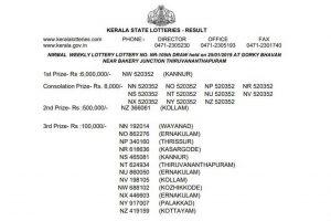 Kerala Nirmal Lottery NR105 results declared on keralalotteries.com