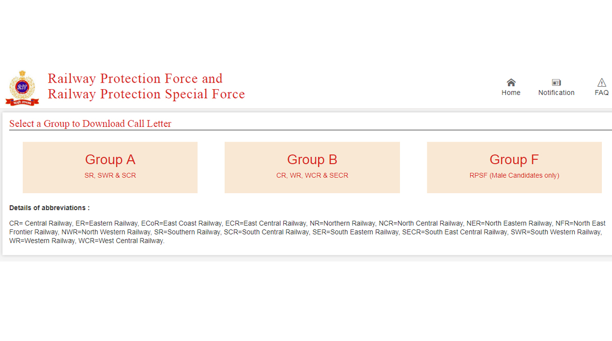 RPF Call Letter/Admit Card 2019 released for Group A, B, F at