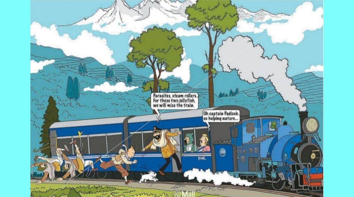 Tintin, Tintin in Darjeeling, Captain Haddock, Darjeeling Toy Train, Darjeeling, Belgian Embassy, Cartoonist Hergé, Snowy, Thompson and Thomson, Mahafuj Ali