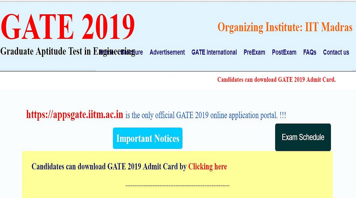 GATE 2019 admit cards released at gate.iitm.ac.in | Check steps to download here
