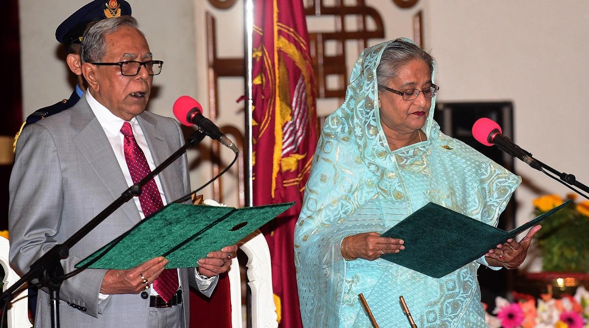 Sheikh Hasina takes oath, Bangladesh PM, Sheikh Hasina, Bangladesh's Prime Minister, Abdul Hamid, Awami League, Bangladesh Nationalist Party, BNP, Khaleda Zia, Jatiya Oikya Front