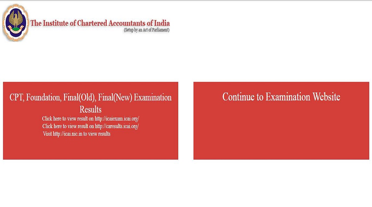 ICAI CA results, Institute of Chartered Accountants of India, icai.nic.in, caresults.icai.org, icaiexam.icai.org