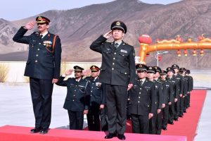 Indian and Chinese army personnel celebrate New Year